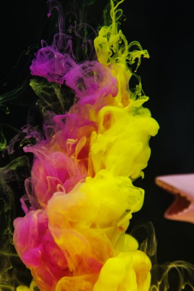 colourful smoke with shark toy